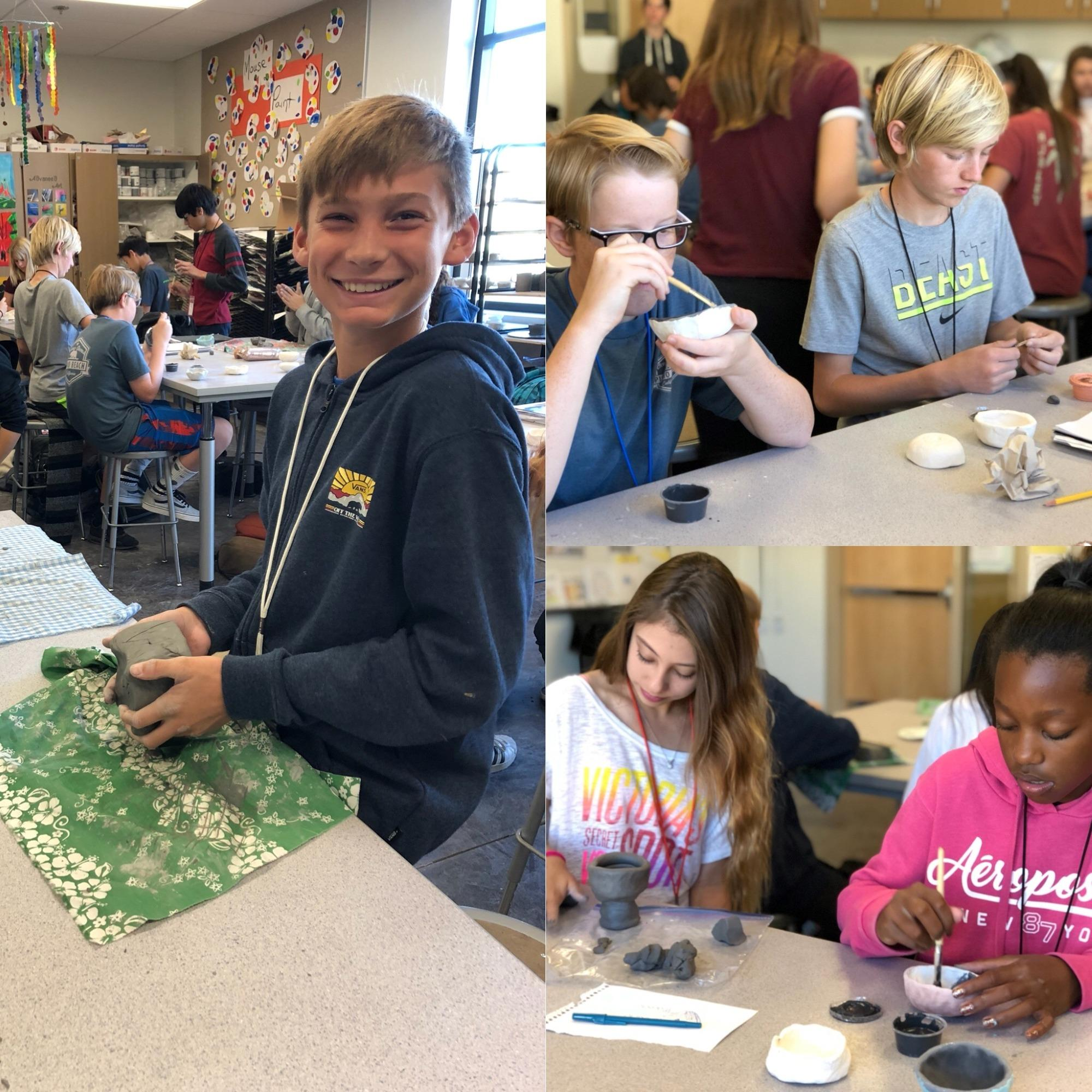 Students working on ceramic projects.