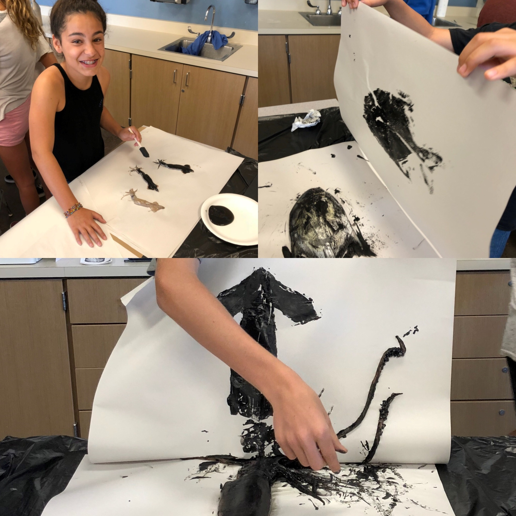 Students making Gyotaku prints.