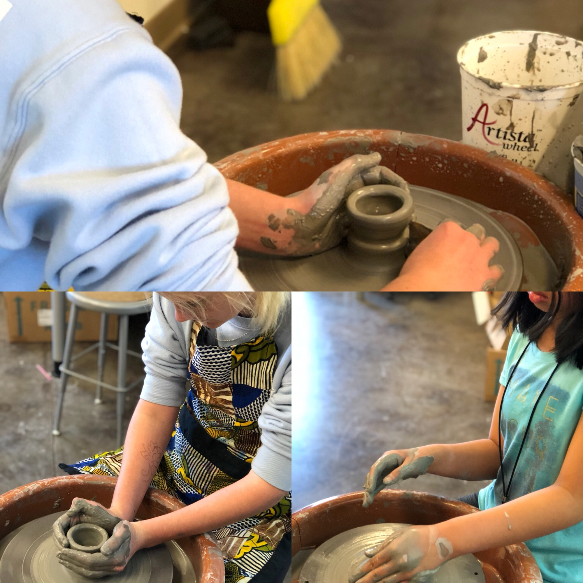 Students working on a potters wheel.